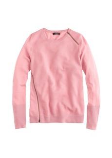 Merino wool asymmetrical zip sweater