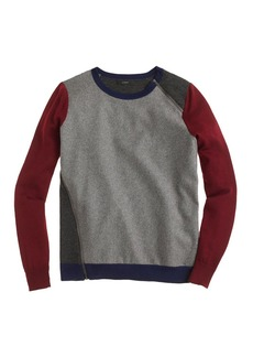Merino wool asymmetrical zip sweater in colorblock