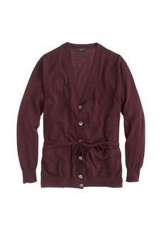 Merino wool belted cardigan sweater