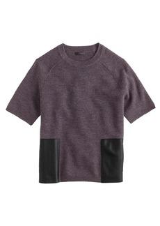 Merino wool leather-pocket tee