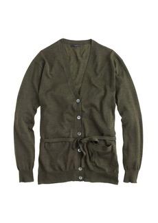Merino wool sparkle belted cardigan sweater