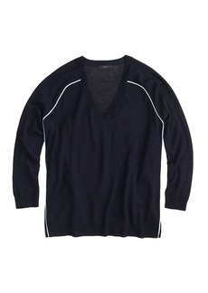 Merino wool tipped side-panel V-neck sweater