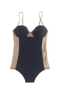 Metallic colorblock one-piece swimsuit