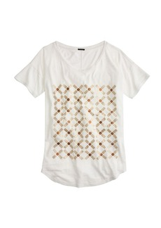Metallic grid drapey tee
