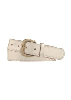 Metallic half-moon embossed leather belt