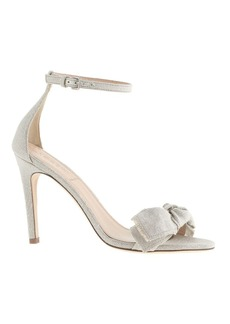 Metallic linen bow high-heel sandals