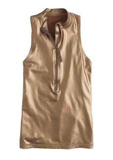 Metallic sleeveless zip rash guard