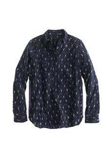 Metallic-striped ikat popover shirt