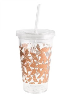 Metallic triangles travel cup with straw