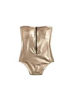 Metallic zip-front one-piece swimsuit