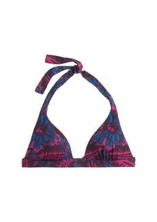 Midnight floral halter bikini top
