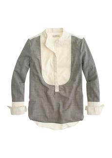 Mixed-media bib blouse