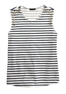 Mixed stone muscle tank top in stripe