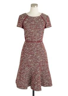 Mixed tweed dress in metallic