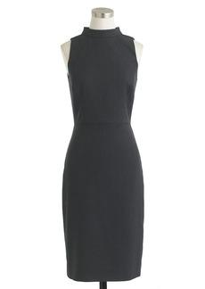 Mockneck dress in wool piqué