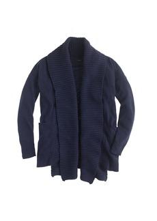 Open shawl-collar cardigan sweater