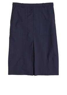Patch pocket skirt in stretch wool