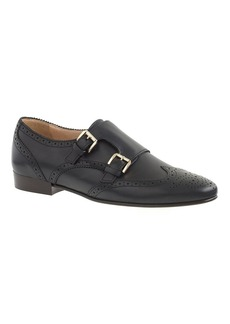 Perforated monk strap loafers