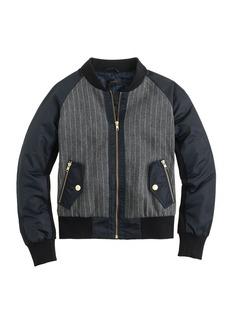 Pinstripe bomber jacket