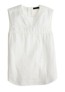 Pleated cotton sleeveless top