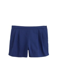 Pleated short in cotton piqué
