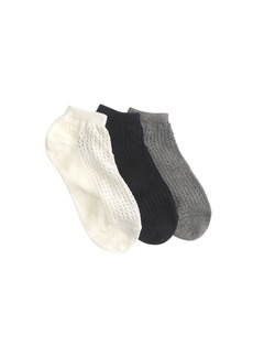 Pointelle ankle socks three-pack