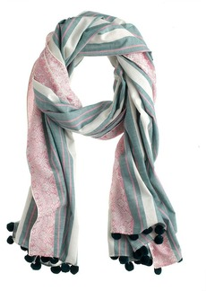 Printed striped pom-pom scarf