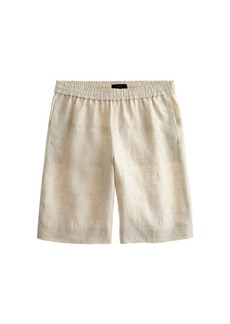 Pull-on herringbone linen short