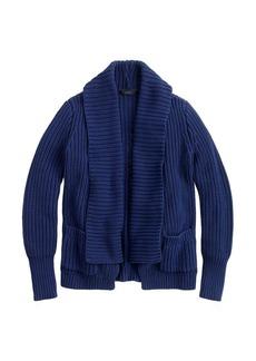 Rib-stitch open cardigan sweater