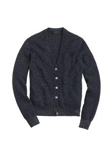 Ribbed metallic cardigan sweater