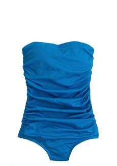 Short torso ruched bandeau tank