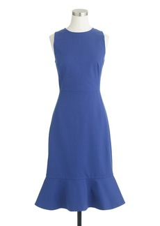 Ruffle-hem dress in stretch cotton