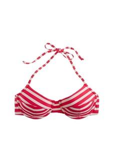 Sailor stripe demi-underwire halter bikini top