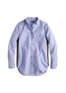 Sequin side-stripe shirt in blue