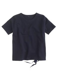Short-sleeve drawstring sweatshirt
