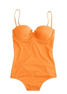 Short torso neon ruched underwire one-piece swimsuit