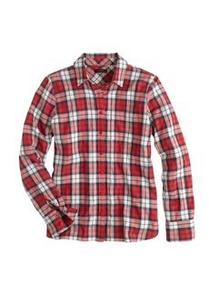 Shrunken boy shirt in cerise plaid