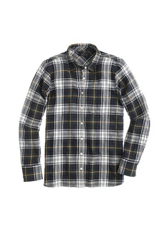 Shrunken boy shirt in navy plaid