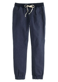 Sideline pant in indigo-stripe chambray