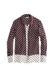 Silk pajama shirt in colorblock dot