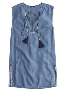 Sleeveless chambray tassel beach tunic