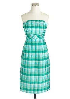 Strapless plaid silk organza dress