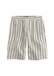 Striped linen pull-on bermuda short