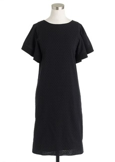 Swiss-dot flounce-sleeve dress