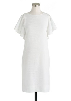 Swiss-dot flounce-sleeve dress