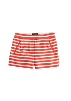Textured-stripe short in festival orange