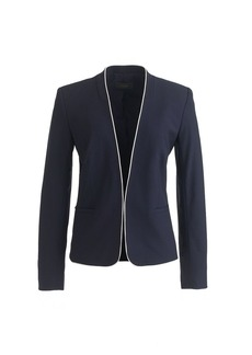 Tipped collarless blazer in Italian stretch wool