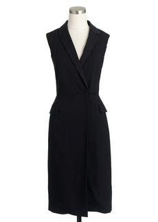 Tuxedo wrap dress in Italian wool crepe