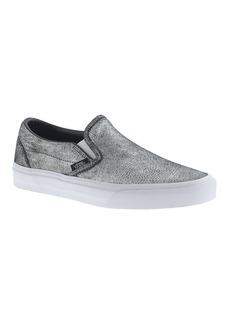 Unisex Vans® classic slip-on sneakers in metallic silver leather