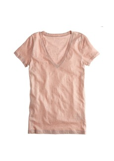 Vintage cotton V-neck tee in metallic